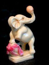 Vintage Japanese ivory colored  bone netsuke -Circus ELEPHANT Plays Ball