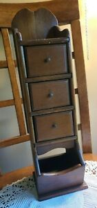 """Antique Wood 3 Drawer Spice Apothecary Wall Cabinet Box Primitive Vintage 17"""""""