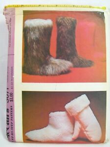 Vintage 1970s McCalls 3071 Faux Fur Slippers Boots Mittens Sewing Pattern Uncut