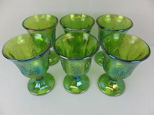 Vintage INDIANA CARNIVAL GLASS Harvest Grape Iridescent Lime Green Wine Goblets