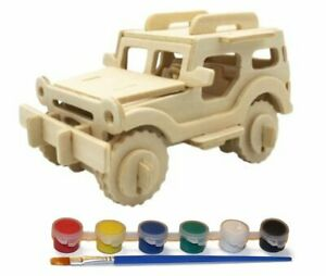 Wood Craft 3D Jeep Puzzle with 6 Paint Colors
