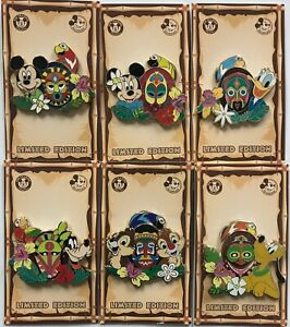 2020 Disney Enchanted Tiki Room Mickey Minnie Donald Goofy & Parrot AP 6 LE Pin