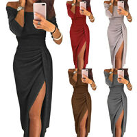 Women Off Shoulder 3/4 Sleeve Slit Wrap Sundress Gown Club Cocktail Party Dress