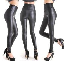 FD4529 Ladies' Black Stretchy Leather Look High Waisted Skinny Pants Leggings
