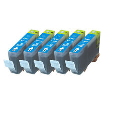5 CYAN Premium Ink + Chip for Canon Series CLI-221 iP4600 iP4700 MP560 MP620