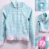 Lululemon SCUBA Seafoam Green Stripe Zip Up Sweater Hoodie Size 4 XS Athletic