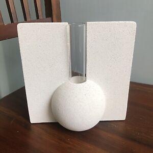 Minimalist Concrete White Ceramic Glass Test Tube Stem Bamboo Flower Vase