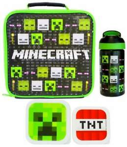Minecraft Mob Heads Lunch Bag, Bottle (470ml) and 2-Piece Snack Box | Lunchbox