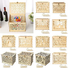 Hollow Carving Wooden DIY Wedding Card Money Box Craft Wishing Rustic Box Decor