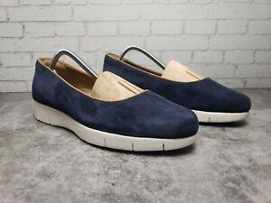 Clarks Artisan Women's Blue Suede Loafer Slip On Sz 8