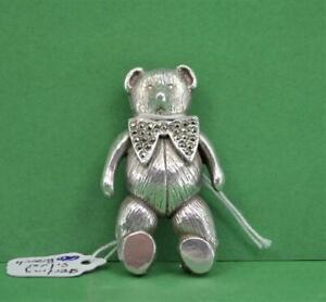 Vintage ladies sterling silver Teddy Bear Brooch 55 mm Marquisette set 35.8 gr