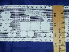 """White 3 3/4"""" Lace Sewing Craft Trim Polyester Train Engine Caboose Bear Per Yard"""