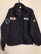 Vintage SEBA HONDA Motorcycle Racing Jacket USCG Cost Guard Mens LARGE Black ZIP