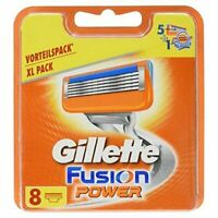 8 NEW GENUINE ORIGINAL GILLETTE FUSION POWER SHAVING RAZORS CARTRIDGES BLADES