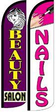 Beauty Salon Nails Windless Standard Size Swooper Flag Sign Banner Pk Of 2
