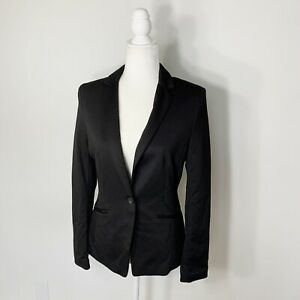 H&M Black Long Sleeve One Button Slim Fit Classic Solid Blazer Jacket Size 8 NWT