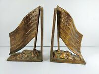 Vintage Cast Iron USA American Flag Bookends Bronze Finish Unmarked
