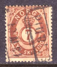 Norway #21 7s Red Brown, 1873, Vg, Cds