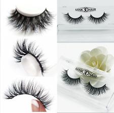 3D 100% Real Mink False Eyelashes Natural Design Cross Messy Eye Lashes 1 Pair