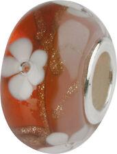 Charlot BORGEN cristal bola con silberkern Flor Flores gps-58 Rojo Murano Bead
