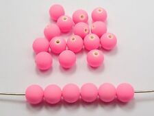 """200 Matte Neon Pink Color Acrylic Round Beads 8mm(0.32"""") Rubber Tone"""