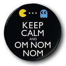 "'Keep Calm and Om Nom Nom' 25mm 1"" Button Badge -  Retro Gaming Pacman"