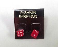 RED DICE STUD EARRINGS