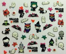 Halloween Nail Art Stickers Transfers Kids Trick or Treat Cats Ghosts Bat YGA137