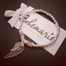 Silver & rose quartz angel wing beaded bracelet gemstone bijoux jewellery boho