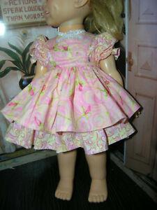 "New 3 Pc Pink Dress Set Dress Rosebud Apron  18"" Doll clothes fits Ideal Giggles"