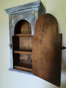 "Primitive Vintage Wood Hanging Wall Cupboard Art Deco Paint Cabinet 21.5"""