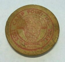 1955 CAMP POINT ILLINOIS CENTENNIAL FARMERS STATE BANK 5¢ VALUE WOODEN NICKEL