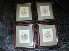 "Golf Engraving, four Vintage 9x11"" prints Framed and Matted"