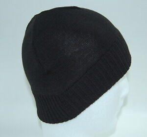 1 x  100% WOOL Knitted Black color Beanie with Ribbed Hem