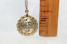 "12k Gold Filled over 929 Sterling Silver Pendant w/GF ""18 Chain w/""Happy B-Day"""