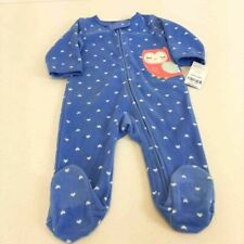 Carters Girls One Piece Footed Pajamas Blue Hearts Owl Patchwork Zip 6 Mos New