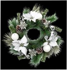 Xmas Accessory 60cm Silver Leaf White Poinsettia Wreath