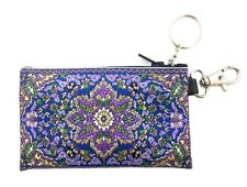 """Tapestry Cloth Keychain Rosary Coin Change Case Pouch Purse Purple Blue 4 3/4"""""""