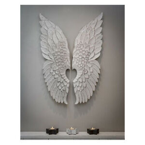 Pair Hand Carved Finished Angel Wings White Distressed Wood Wall Art Decoration