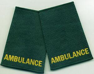 Woven Ambulance Epaulette Slider Pair Green Epaulettes