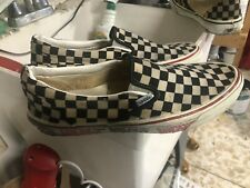 Vintage 1980's Vans Black & White checkerboard slip-on Made in Usa Size 12