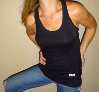 FILA womens tank top shirt fitness tee black cycling racerback cheetah mesh XS