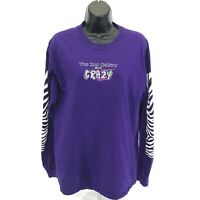 The Zoo Gallery Graphic Tee T Shirt Womens M Purple Zebra Colorful Long Sleeve