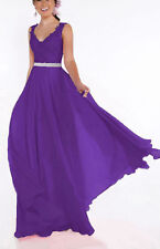 Long Chiffon Lace Evening Formal Evening Party Prom Bridesmaid Dresses Size 6-20