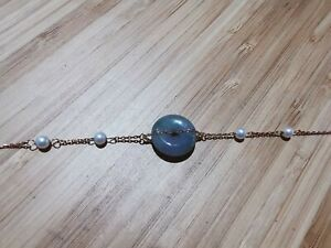 Rose Gold Plated Simulated Jade with Pearls Emerald Bracelet