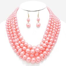 Five Layers Pink Faux Pearl Gradual Chunky Necklace Earring Set