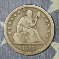 1857 SEATED LIBERTY SILVER QUARTER COLLECTOR COIN. FREE SHIPPING