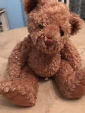 "Adorable First & Main brown teddy bear plush Tucker 1715 felt feet, 14"" Tall"
