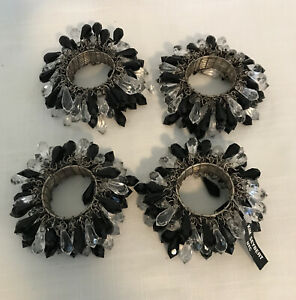 4 KIM SEYBERT Black And Clear COLOR JEWEL BEADED ROUND NAPKIN RINGS...NWT