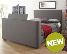 2020 Newark Grey Fabric Electric TV Bed in 4ft6 Double and 5ft KingSize NEXT DAY